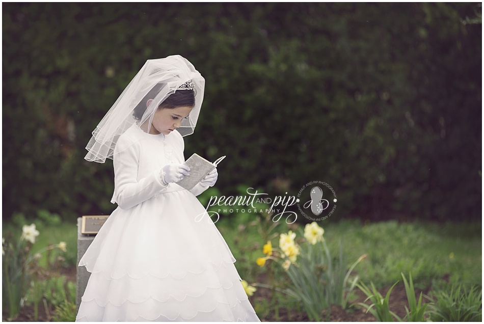 Communion girl garden spring magnolias Long island