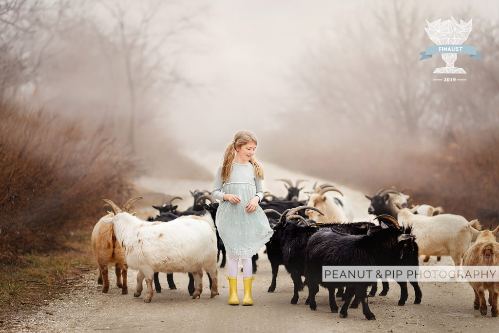 Girl with goats in fog